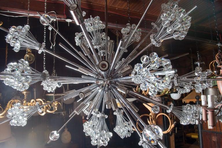J. & L. Lobmeyr Starburst Chrome, Crystal Chandelier, by Hans Harald Rath For Sale 1