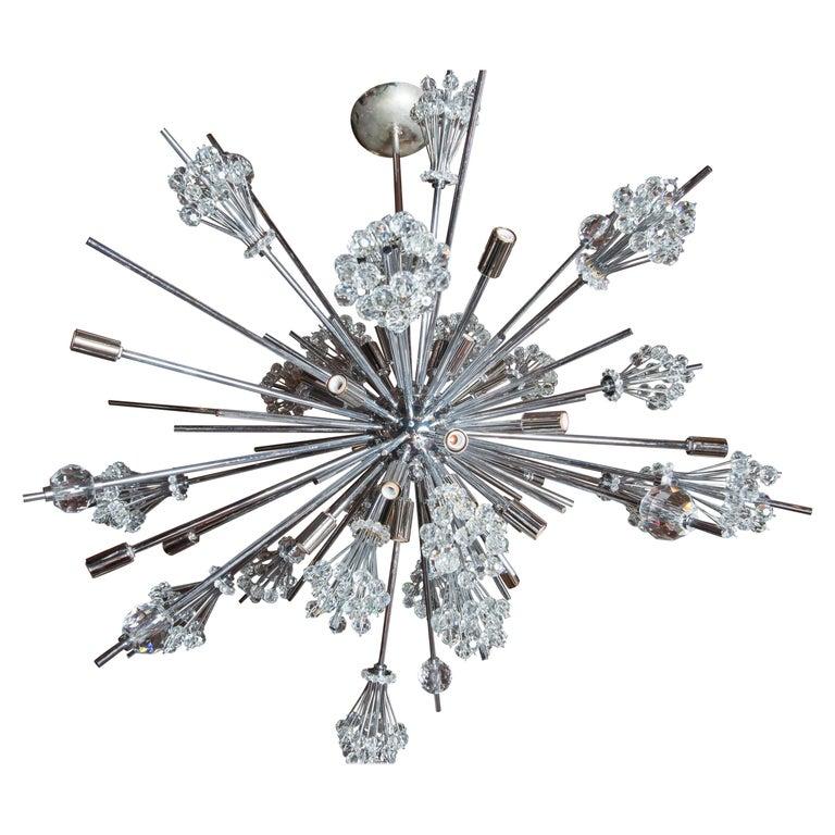 J. & L. Lobmeyr Starburst Chrome, Crystal Chandelier, by Hans Harald Rath For Sale