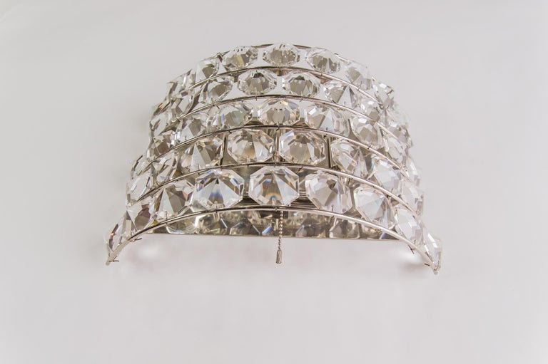 Crystal J & L Lobmeyr Wall Lamp 1950s 'Signed' For Sale