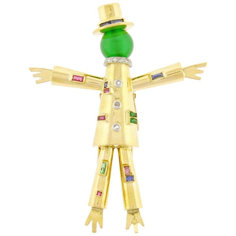 J. Lacloche Épouvantail 'Scarecrow' Jeweled Clip Brooch For Sale