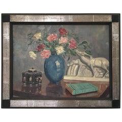 J. Laurent Art Deco Oil on Canvas Painting Lemanceau Crackle Ceramic Antelopes