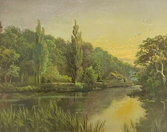 Antique English Oil Painting - The River Thames at Golden Hour Sunset