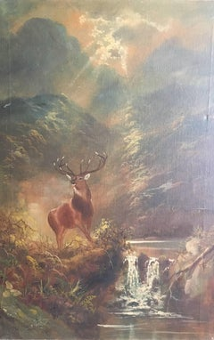 Monarch of the Glen, Highland Stag, Antique Scottish Oil Painting