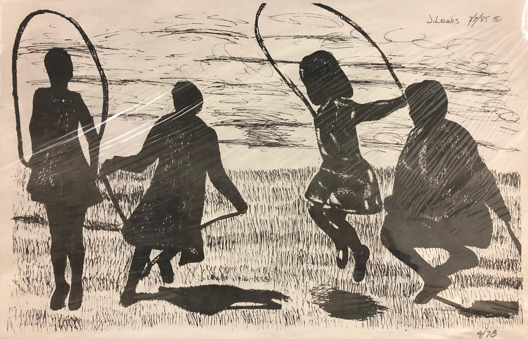 """""""Children Jumping Rope"""" Limited Edition Etching (4/78) Signed, Dated by Artist"""