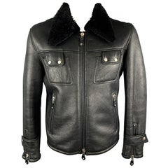 J. LINDEBERG L Black Shearling Collared Snap Pockets Leather Jacket