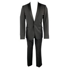 J. LINDEBERG Size 36 Black Wool Satin Peak Lapel Tuxedo Suit