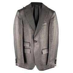J. LINDEBERG Size 36 Black Woven Cotton Blend Peak Lapel Sport Coat