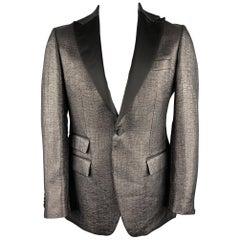 J. LINDEBERG Size 44 Long Black Woven Polyamide / Cotton Sport Coat