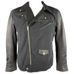 J. LINDEBERG Size L Black Mixed Materials Nylon Biker Jacket