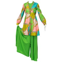 J Magnin Mad Men Season 5 Lime Palazzo Jumpsuit and Jeweled Tunic - XS-S, 1960s