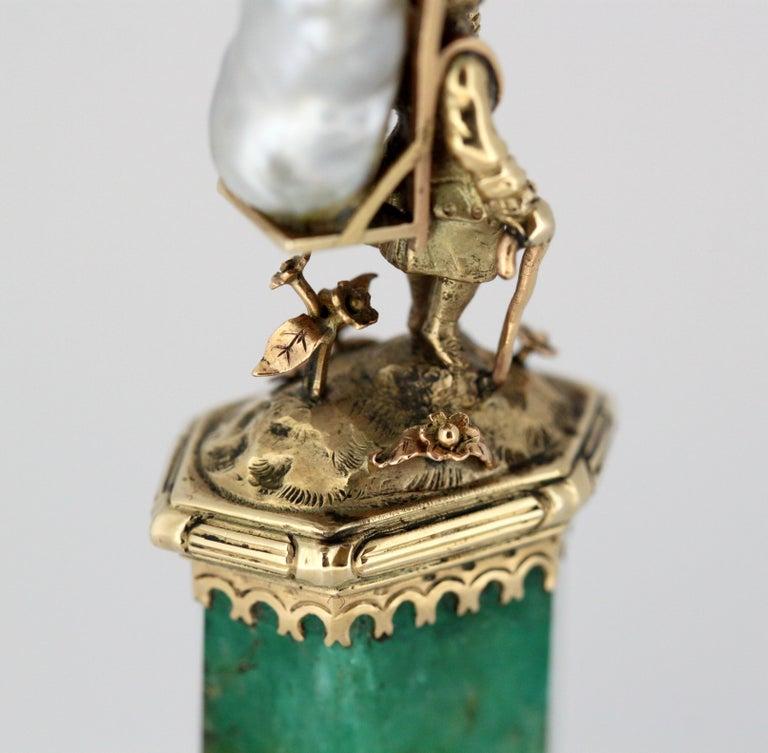 J. Mandereau / Maison Molgatini - 18k gold emerald and baroque pearl desk seal For Sale 6