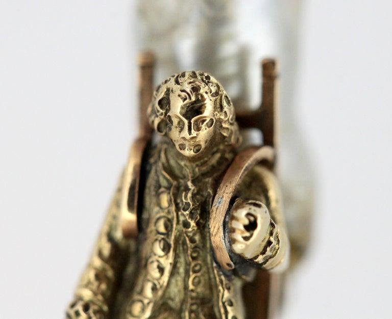 Women's or Men's J. Mandereau / Maison Molgatini - 18k gold emerald and baroque pearl desk seal For Sale