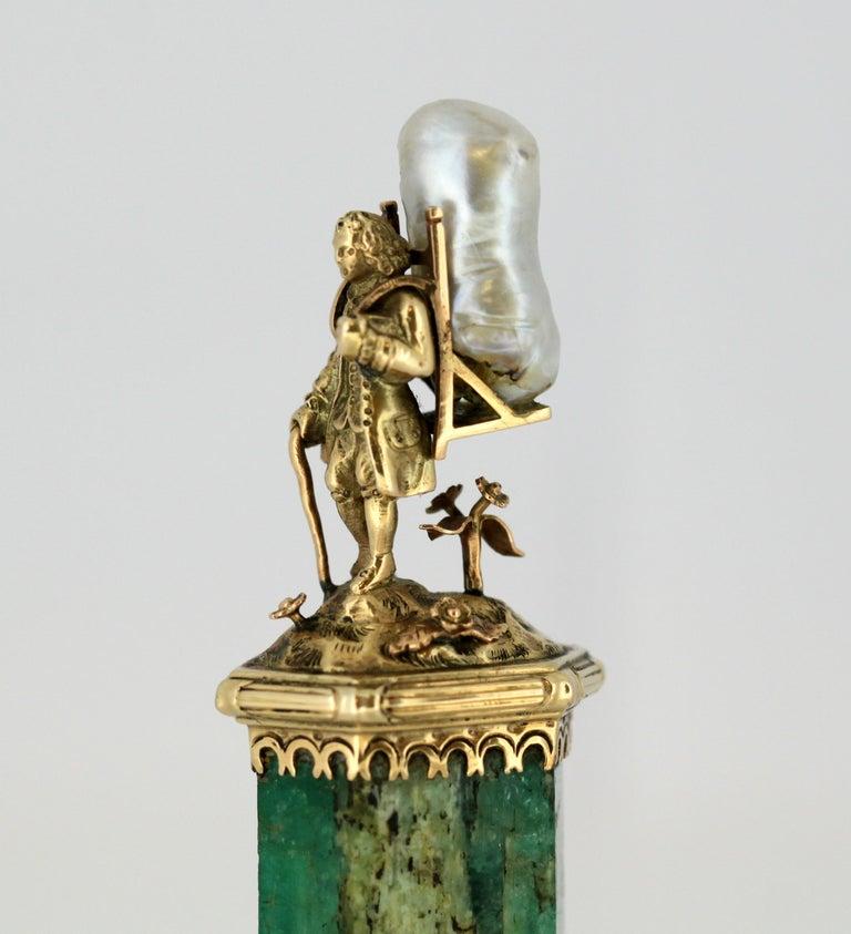 J. Mandereau / Maison Molgatini - 18k gold emerald and baroque pearl desk seal For Sale 3