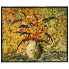 J. Marque French Mid Century Original Painting Still Life Signed