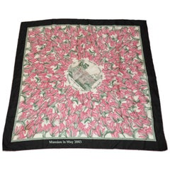 "J. Matz's Wonderfull ""Mansion Among Field Of  Wild Tulips"" Silk Jacquard Scarf"