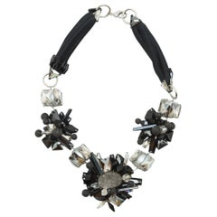 J Mendel Black & Clear Statement Beaded Necklace