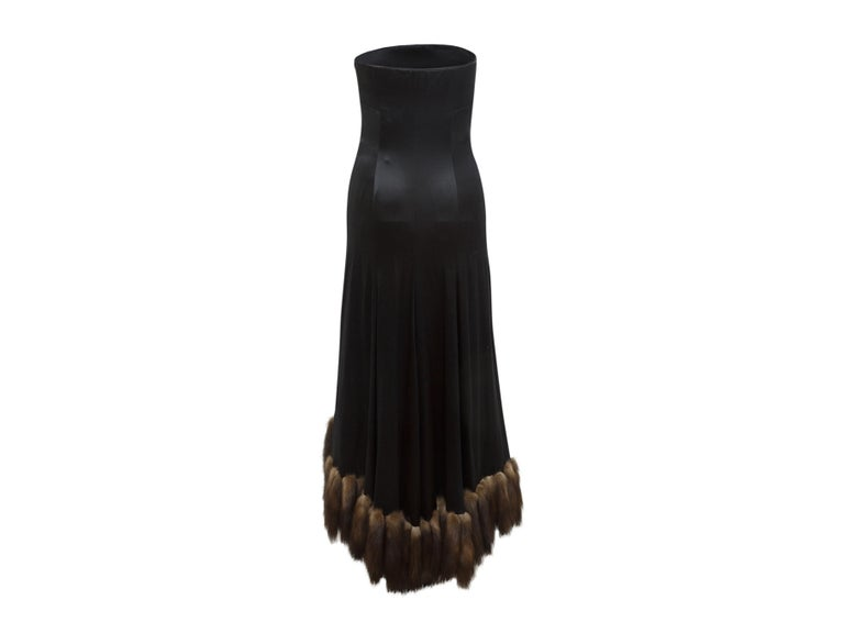 J. Mendel Black Silk Sable-Trimmed Gown In Good Condition In New York, NY