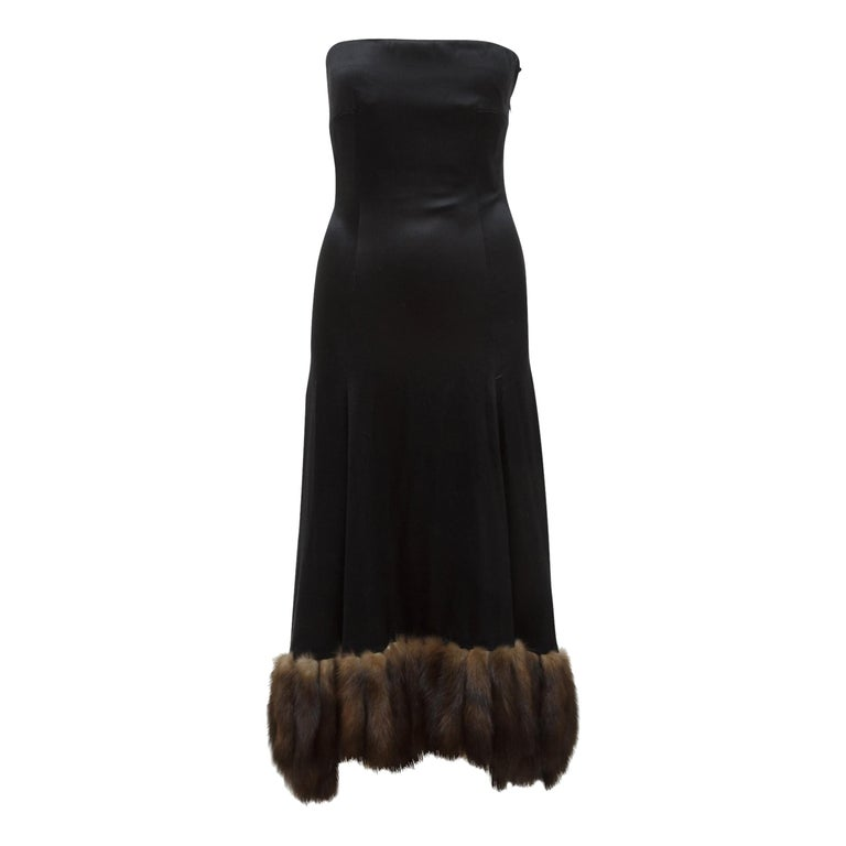 J. Mendel Black Silk Sable-Trimmed Gown