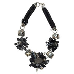 J Mendel Black & Silver Statement Necklace