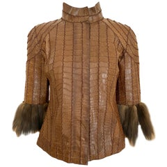 J Mendel Crocodile Crop Jacket with Fur sleeve