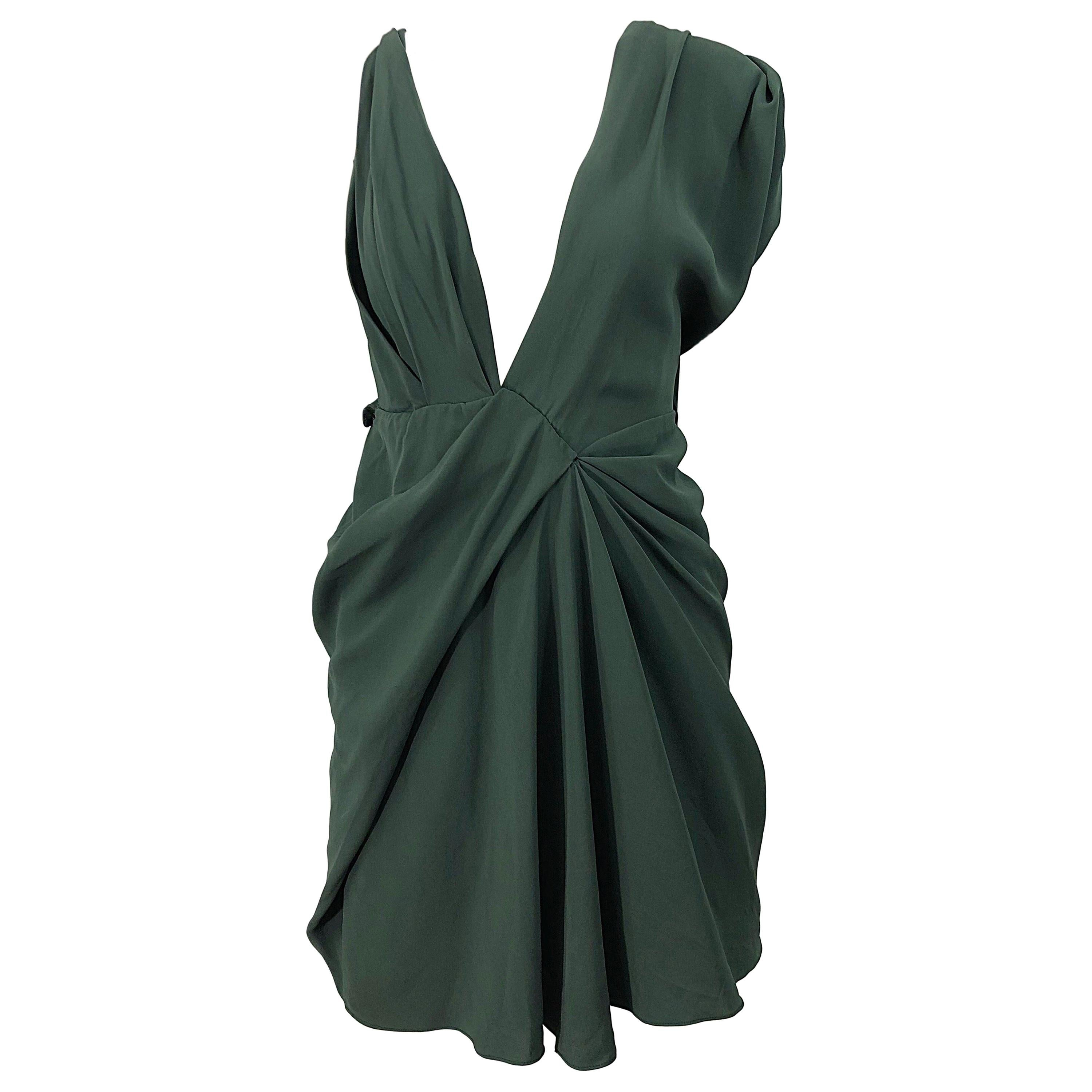 J Mendel Hunter Forest Green Sexy Plunging Early 2000s Asymmetrical Mini Dress