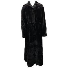 J. Mendel Paris Black Sheared Mink Fur Maxi Coat w/ Belt