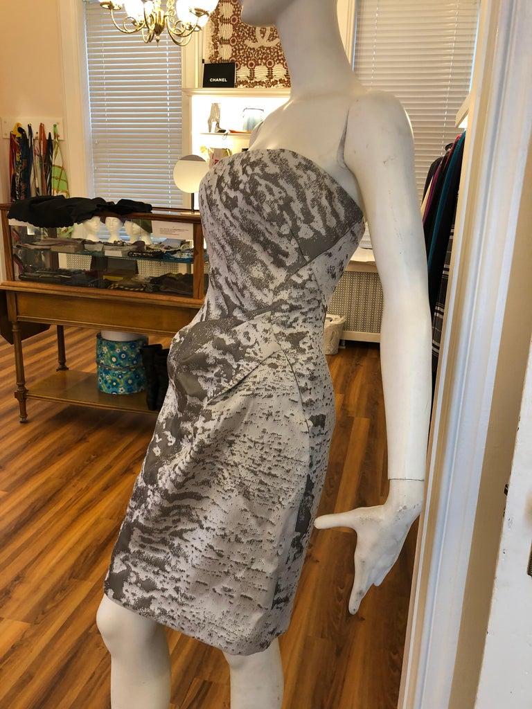 J. Mendel Paris Strapless Grey/Silver Dress (S) For Sale 1