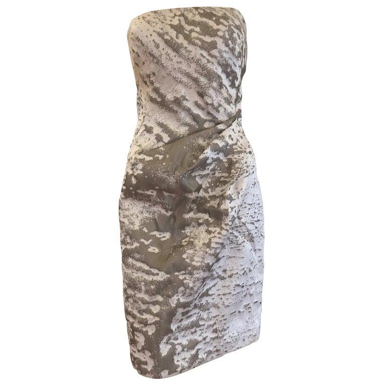 J. Mendel Paris Strapless Grey/Silver Dress (S) For Sale