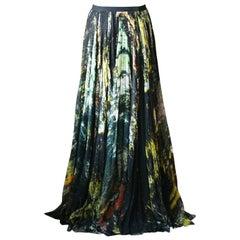 J Mendel Printed Silk Maxi Skirt
