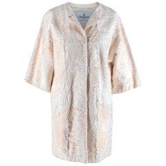J Mendel White Astrakhan Fur Collarless Coat - Size US 6
