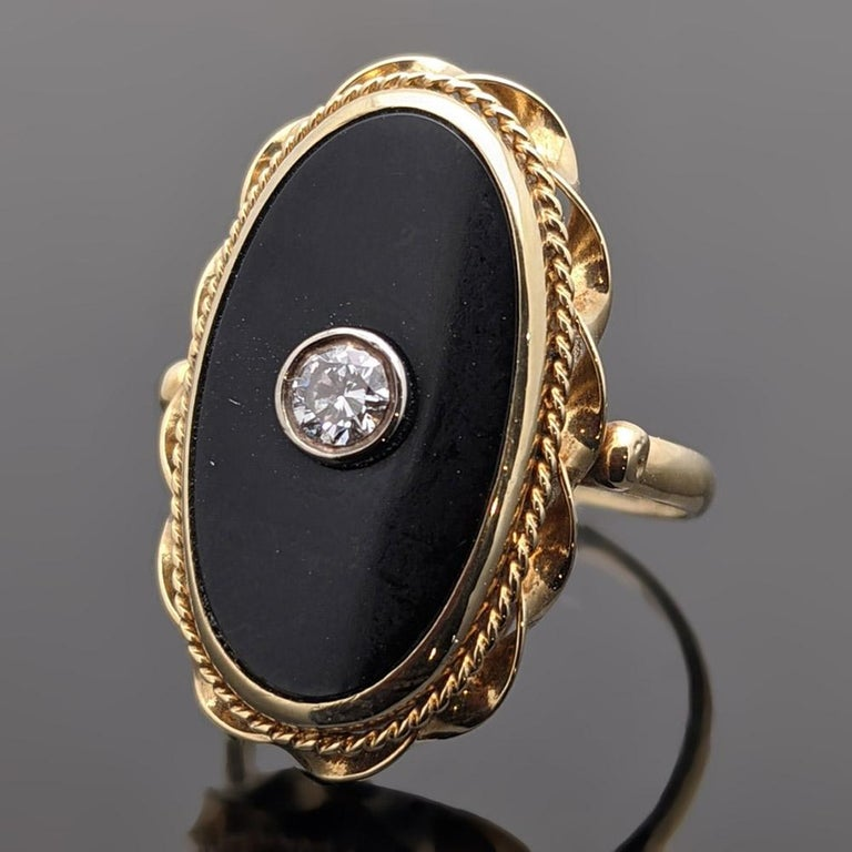 Russian Empire Onyx and Diamond 14 Karat Yellow Gold Ring For Sale