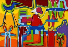 """""""A Garden Made by Me"""" Large Abstract Expressionist Painting Acrilic on Canvas"""