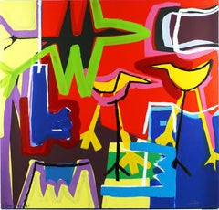 """Contempory Art """"A Lovely Day"""" Abstract Expressionist Composition Acrilic, Canvas"""