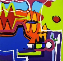 """Contemporary Art """"Family Life"""" Large Abstract Composition Acrylic Canvas Signed"""