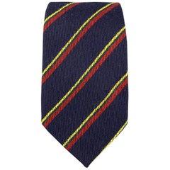 J. PRESS Navy Red Green & Yellow Striped Wool Tie
