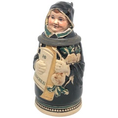 J. Reinemann Character Antique Germany Lidded Beer Stein Munich Child, 1900s