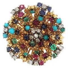 J Rossi 18 Karat Multi Gem and Diamond Ring