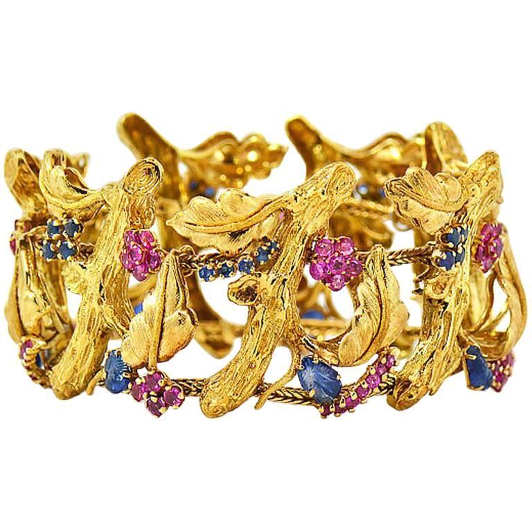 J Rossi 18 Karat Yellow Gold Ruby and Sapphire Bracelet