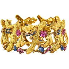 J Rossi 18 Karat Yellow Gold Ruby and Sapphire Bracelet