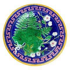 J. Roth London Majolica Taza Greek Key in Pink on Cobalt Blue, English