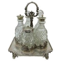 J. Round & Sons Victorian English Silver Plated Cruet, circa 1890