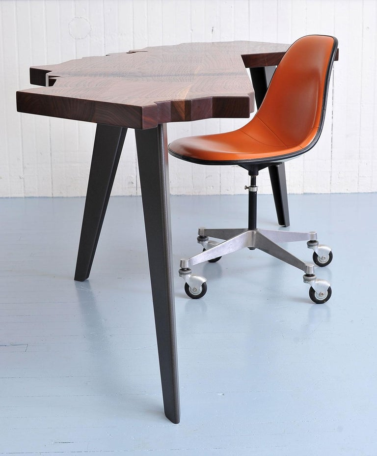 Modern J. Rusten Studio-crafted California Shaped Desk from Salvaged CA Claro Walnut  For Sale