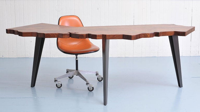 American J. Rusten Studio-crafted California Shaped Desk from Salvaged CA Claro Walnut  For Sale