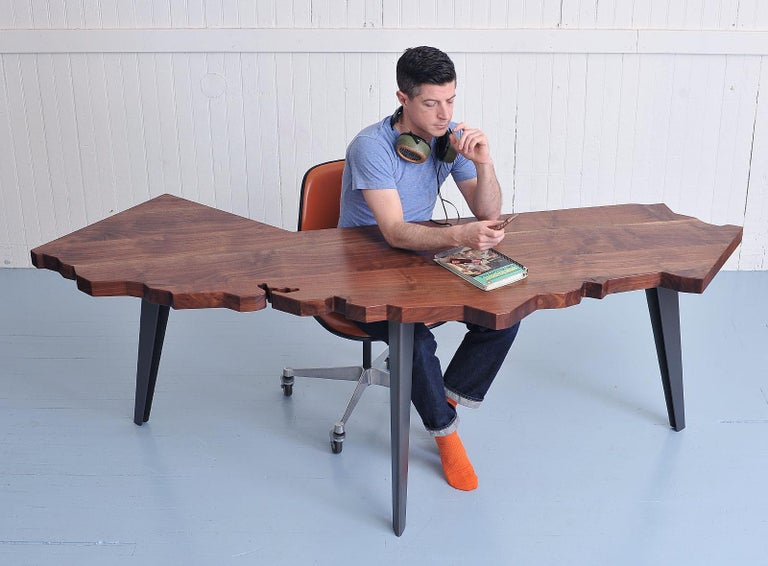 Contemporary J. Rusten Studio-crafted California Shaped Desk from Salvaged CA Claro Walnut  For Sale