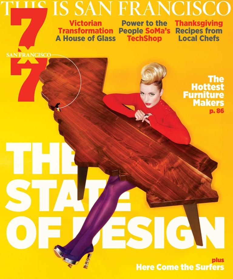 Hardwood J. Rusten Studio-crafted California Shaped Desk from Salvaged CA Claro Walnut  For Sale