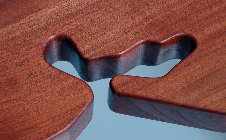 J. Rusten Studio-crafted California Shaped Desk from Salvaged CA Claro Walnut  For Sale 1