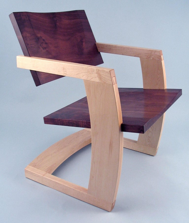 J. Rusten Studio-crafted Palo Alto Cantilevered Lounge Chair in Walnut and Maple For Sale 2