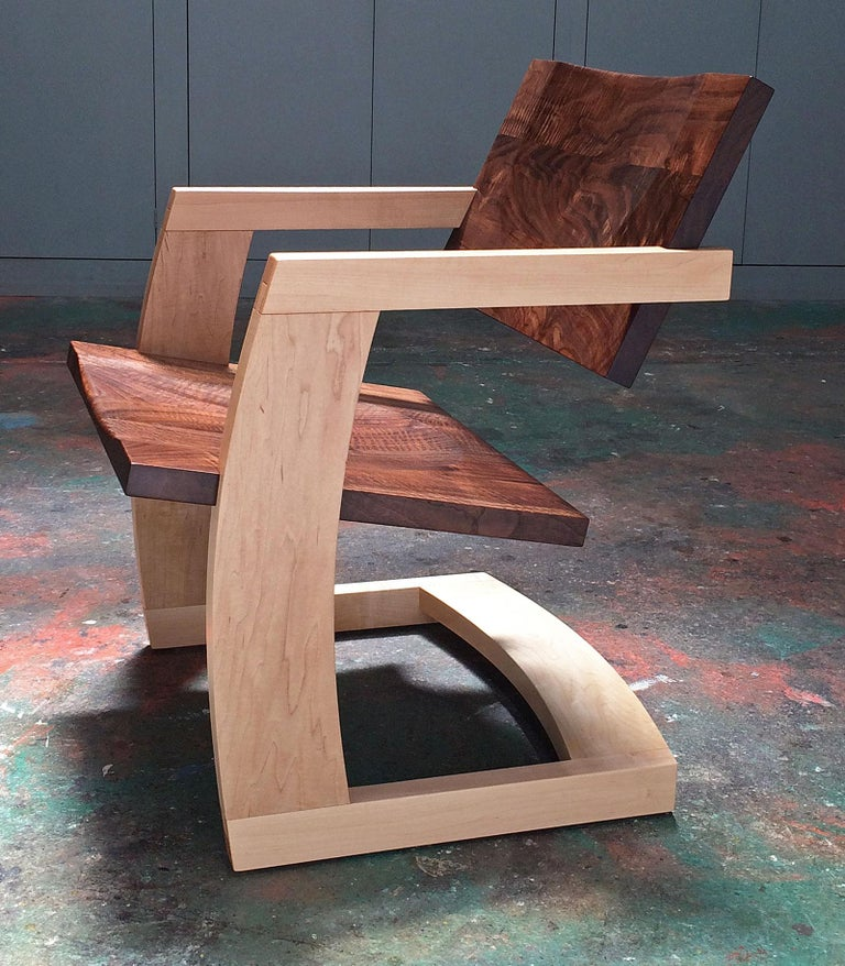 J. Rusten Studio-crafted Palo Alto Cantilevered Lounge Chair in Walnut and Maple For Sale 4