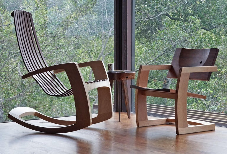 Modern J. Rusten Studio-crafted Palo Alto Cantilevered Lounge Chair in Walnut and Maple For Sale