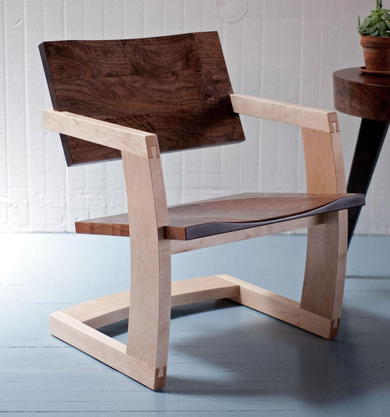 American J. Rusten Studio-crafted Palo Alto Cantilevered Lounge Chair in Walnut and Maple For Sale